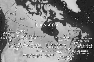 北美主要观星公园分布示意图