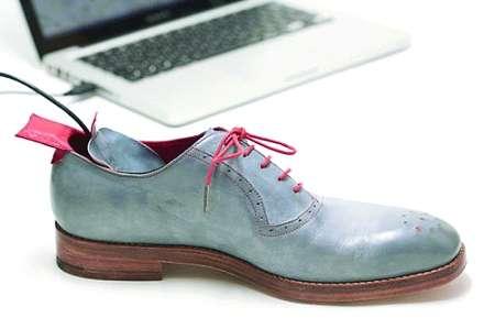 由英国设计师制作的这双皮鞋,内嵌gps导航